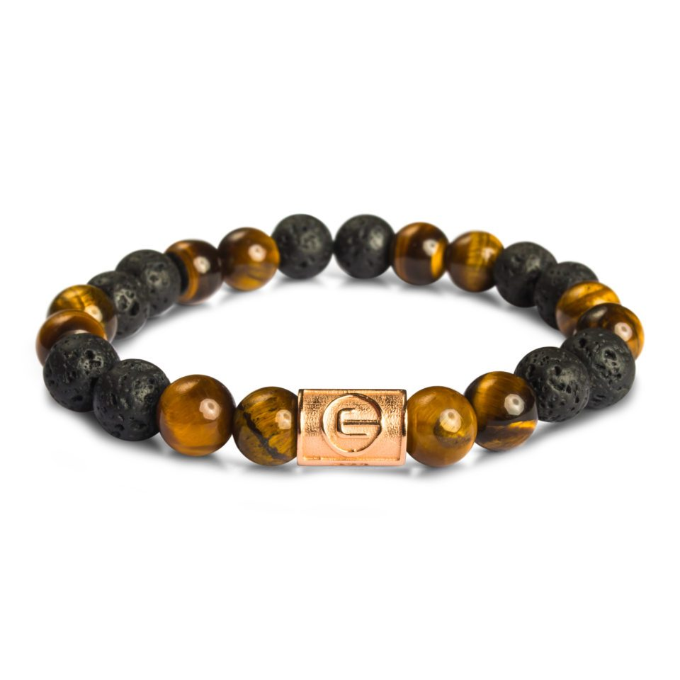 ESEROCCA Classic Brown Tiger Eye & Lava Rose Gold